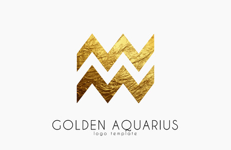 Golden aquarius. Golden zodiac sign. Aquarius zodiaclogo