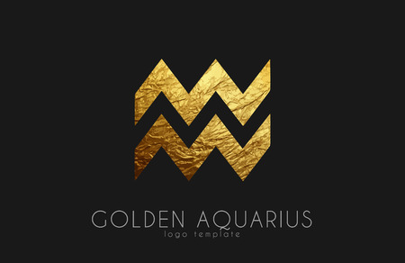 Golden aquarius. Golden zodiac sign. Aquarius zodiac logo
