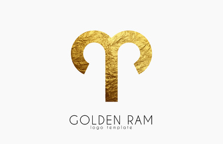 Golden ram. Golden zodiac sign. Ram zodiac logo Illustration
