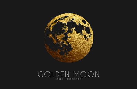 dipole: Moon logo design. Creative moon logo. Golden logo. Full moon.