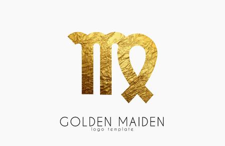 maiden: Golden maiden. Golden zodiac sign. Maiden zodiac logo