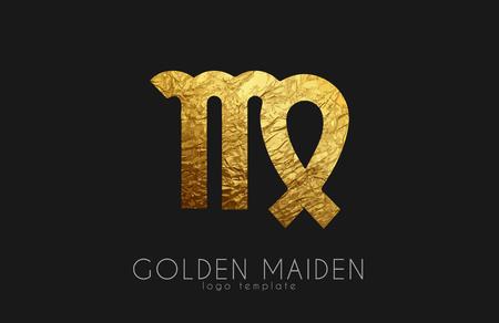 Golden maiden. Golden zodiac sign. Maiden zodiac Illustration