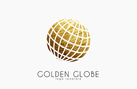 Globe sign. Golden globe logo. Creative logo
