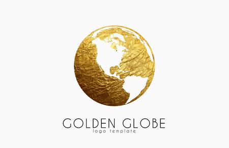 golden globe: Globe sign. Golden globe logo. Creative logo