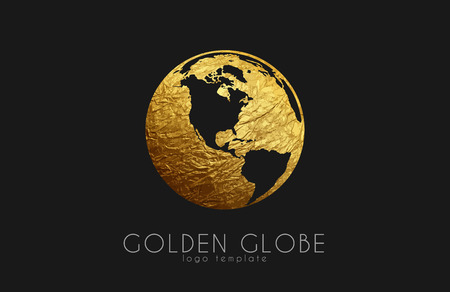 Globe sign. Golden globe logo. Creative logo