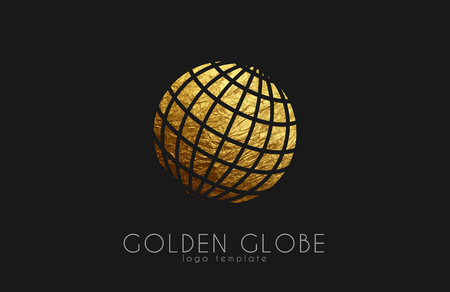 golden: Globe sign. Golden globe logo. Creative logo