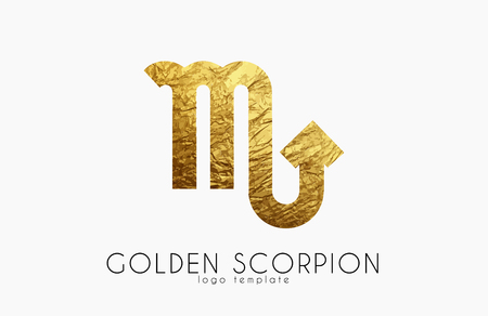 divination: Golden scorpion. Golden zodiac sign. Scorpion zodiac