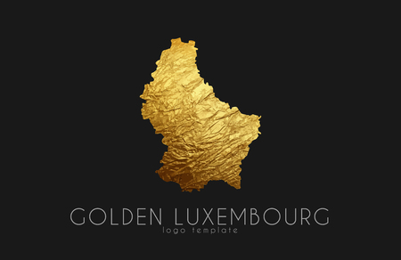western town: Luxembourg map. Golden Luxembourg logo. Creative Luxembourg logo design Illustration