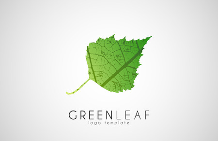 reversed: Green leaf symbol logo. Creative ecology logo design