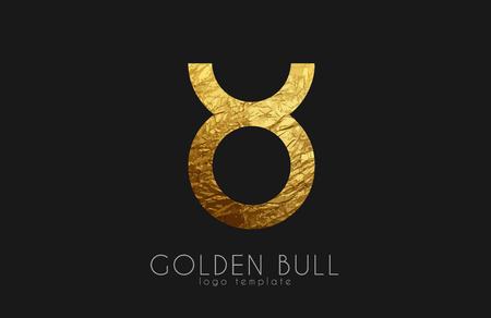 Golden bull. Golden zodiac sign. Bull zodiac logo Illustration