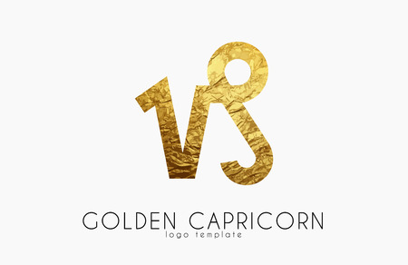 Golden capricorn. Golden zodiac sign. Capricorn zodiac logo Illustration