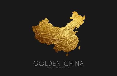 China map. Golden China logo. Creative China logo design