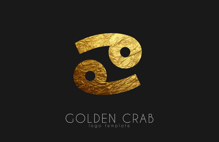 virgo the virgin: Golden crab. Golden zodiac sign. Crab zodiac logo Illustration
