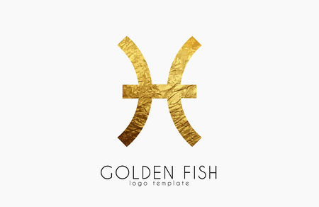 Golden fish. Golden zodiac sign. Fish zodiac logo