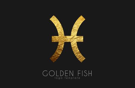 Golden fish. Golden zodiac sign. Fish zodiac logo