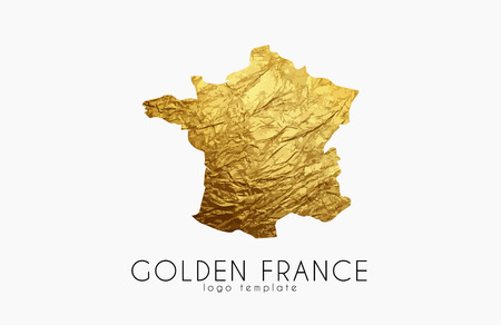 trait: France map. Golden France logo. Creative France logo design