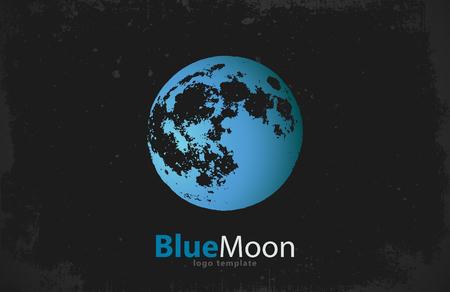 blue moon: Moon logo design. Creative moon logo. Night logo. Blue moon. Illustration