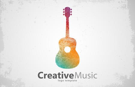 music logo: Guitar logo. Creative guitar logo. Music logo. Music logo design