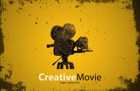 Film logo. Creatief filmontwerp. Camera logo. Studio logo Logo