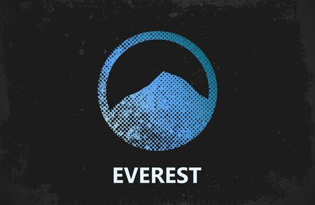 Diseño de la montaña. Everest. cartel de la montaña Foto de archivo - 64360364
