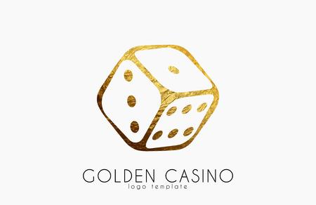 Golden Casino logo. Dice logo. Casino club poster Illustration