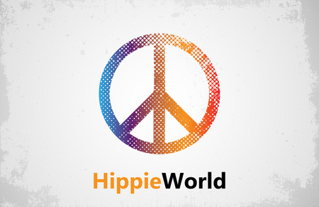 groovy: Make Love Not War - Hippie style. PEACE  Color hippie Illustration