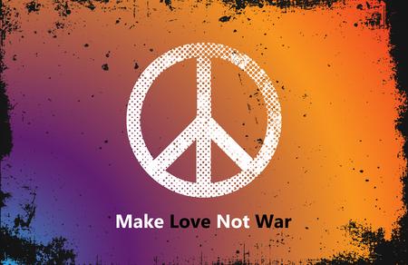 faire l amour: Make Love Not War - style Hippie. PAIX logo. hippie couleur
