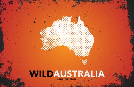 Grunge Australia logo. Australia logo design. Wild australia