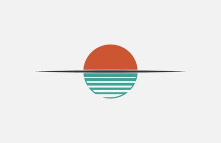 Sunet logo. Sun over the water. Minimalistic logo design Ilustração