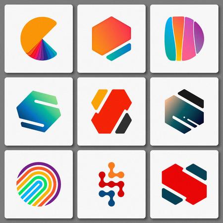 Logo design set. Geometric logos. Creative abstract logo. Simple element Ilustração