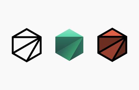 Hexagon logo design. Creative emblem template. Studio logotype