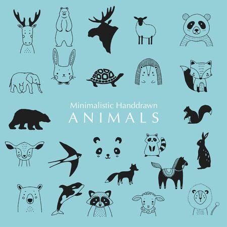 Hand Drawn Animals. Minimalistic Hand drawn Animals. Animals illustrations.