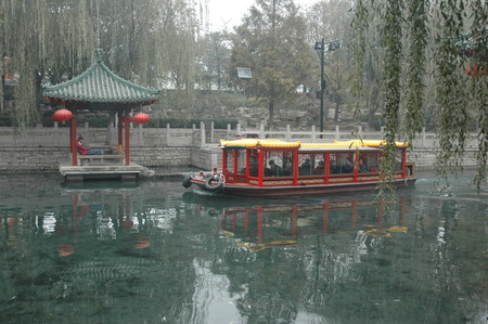 river boat: River boat in China, Linyi City, Stock Photo
