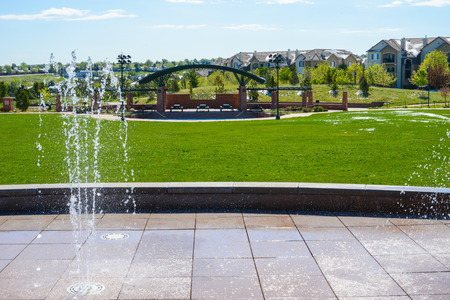 water feature: Playground with water feature,