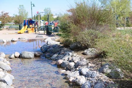 yelllow: playground with streem. Stock Photo