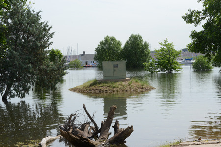 chatfield: power box on dry land in flooded area