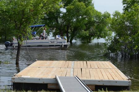 pontoon: pontoon shuttle leaving dock