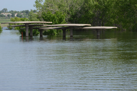 chatfield: picnic shelter under water Stock Photo