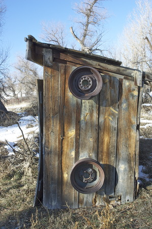 outhouse with wheels Stockfoto