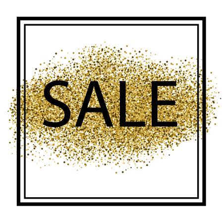 Elegant Sale with gold glitter in black frame on white background. Vector illustration. Ilustração