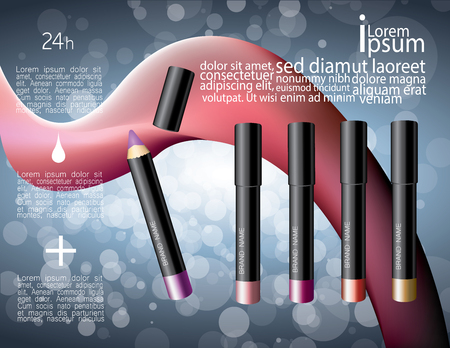 Colorful lip gloss pencils set. Makeup cosmetics vector illustration with abstract elements.