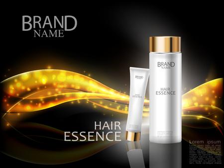 Premium cosmetische advertenties. Haar essentie witte fles en room op abstract glanzend gouden golf design element met glitter effect op zwarte achtergrond. Vector illustratie.