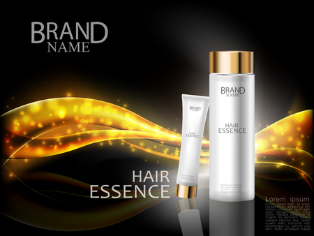 Premium cosmetic ads. Hair essence white bottle and cream on abstract shiny gold wave design element with glitter effect on black background. Vector illustration.