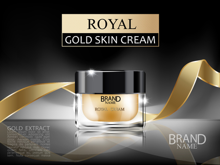 Premium 3d cosmetic glass cream bottle with royal gold face cream inside and gold ribbon on dark abstract background. Vector illustration.