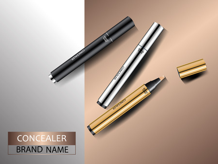 Cosmetic ads. Premium silver gold and black concealers on abstract metal background. Face and skin care. 3d vector illustration.