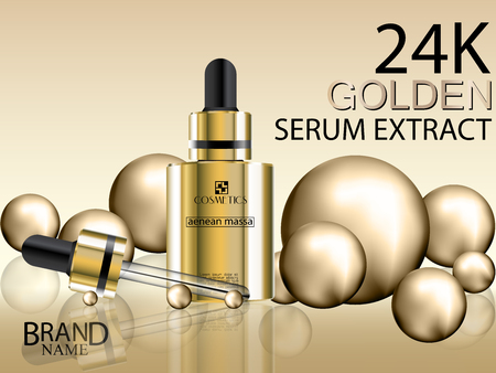 Cosmetic ads. Serum gold extract cosmetic gold bottle with 24K golden balls. Vector illustration.