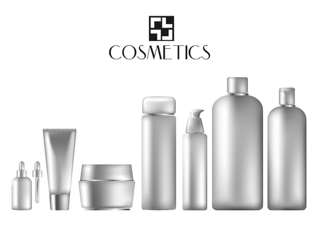 Cosmetic bottles mokeup isolate on white backgroun. Premium realistic cosmetic bottles. Vector illustration.