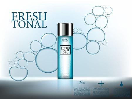 Kosmetikanzeigen, 3d erstklassige kosmetische Flaschen gel mit Wasser sprudelt auf abstraktem blauem Oberflächenhintergrund. Vektor-Illustration. Standard-Bild - 77737019