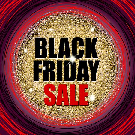Venta de viernes negro en textura de oro brillo con círculos rojos y negros. Ilustración vectorial Foto de archivo - 89179253