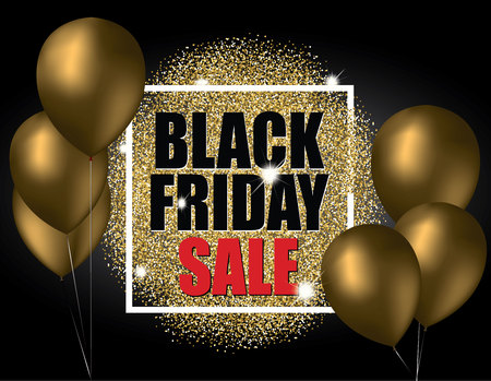 Black friday sale with gold balloons and gold glitter effect. Vector illustration. Stock Illustratie